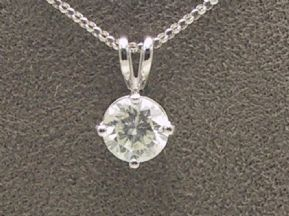 "Beautiful 18carat White Gold 1.15 Carat Diamond Pendant With 16"" belcher Chain"